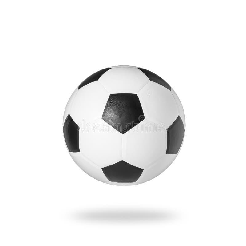 Estudio del balón de fútbol tirado y aislado en el fondo blanco fotografía de archivo libre de regalías