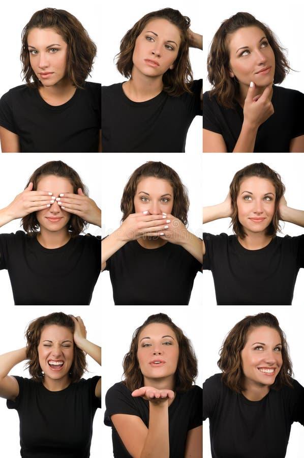 Estudio del carácter - expresiones faciales femeninas imagen de archivo libre de regalías