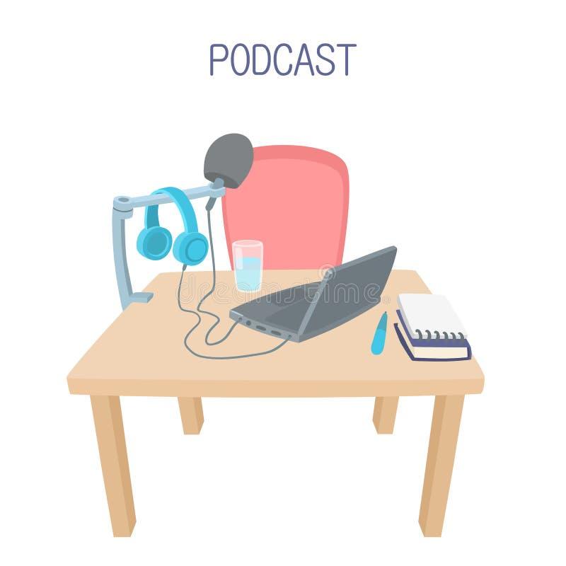 Estudio del podcast del hogar Estudio de grabaci?n stock de ilustración