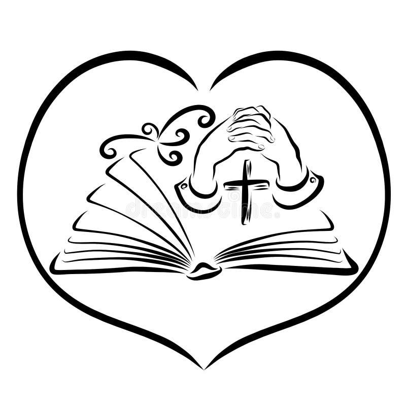 Estudio del rezo y de la biblia, libro, cruz, manos y pájaro en corazón stock de ilustración