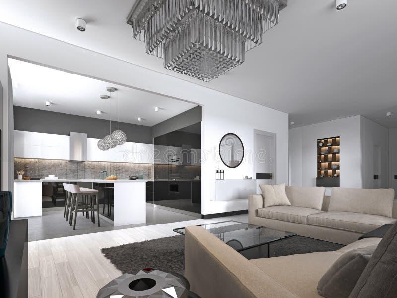 Estudio interior del apartamento espacioso con estilo escandinavo, la cena y la cocina de la pared blanca stock de ilustración