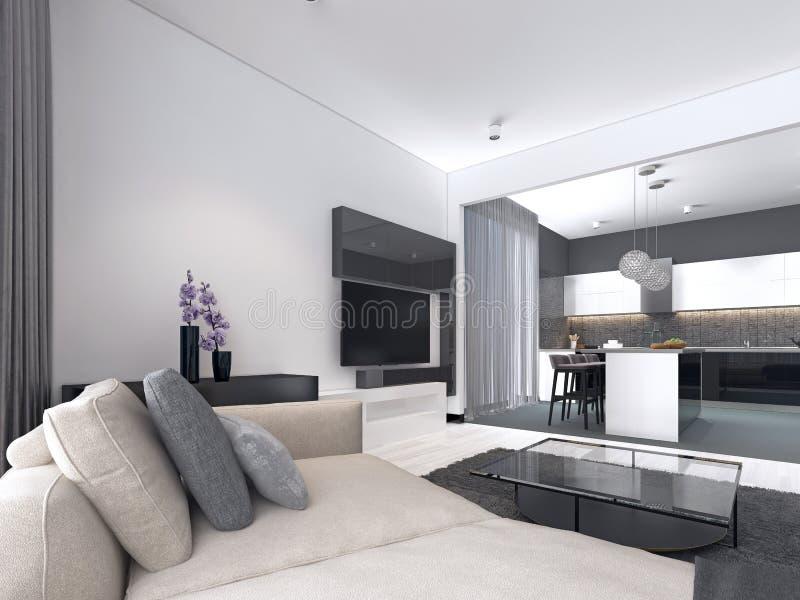 Estudio interior del apartamento espacioso con estilo escandinavo, la cena y la cocina de la pared blanca ilustración del vector