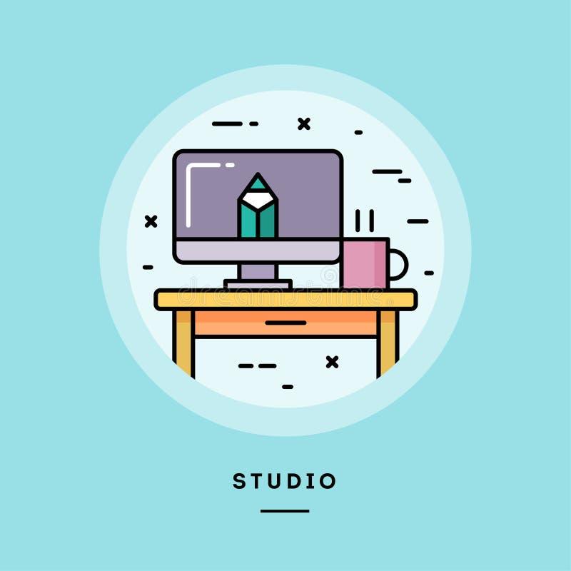 Estudio, línea fina bandera del diseño plano Ilustración del vector ilustración del vector