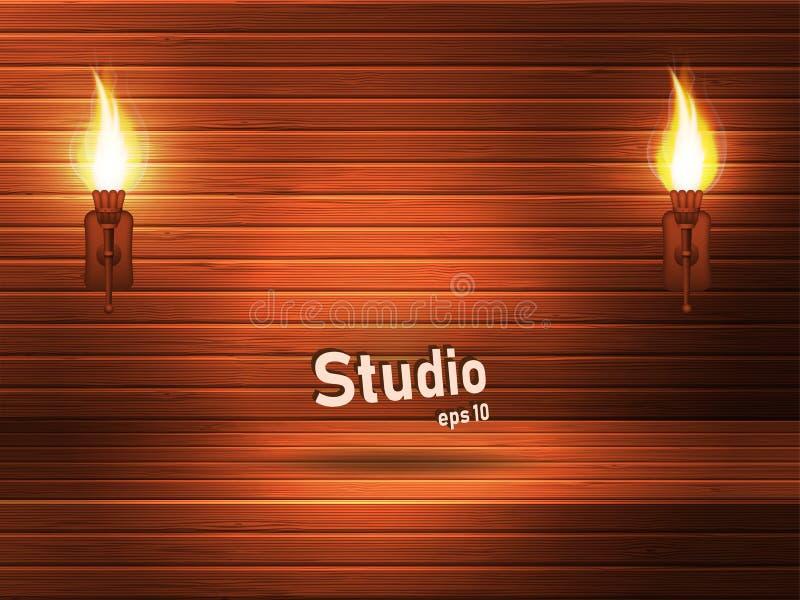 Estudio marrón de madera vacío con un tinte y una hendidura rojos Las antorchas antiguas con el fuego iluminan el espacio stock de ilustración
