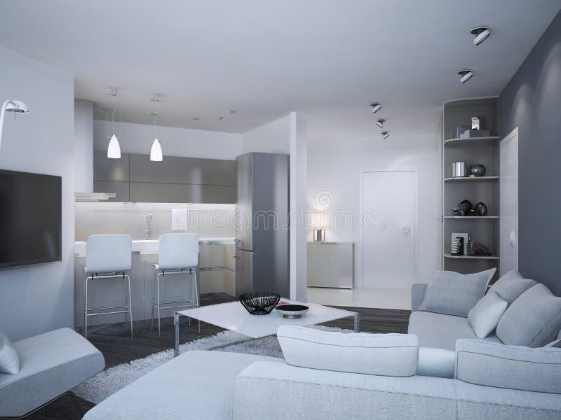 Estudio minimalista del apartamento stock de ilustración