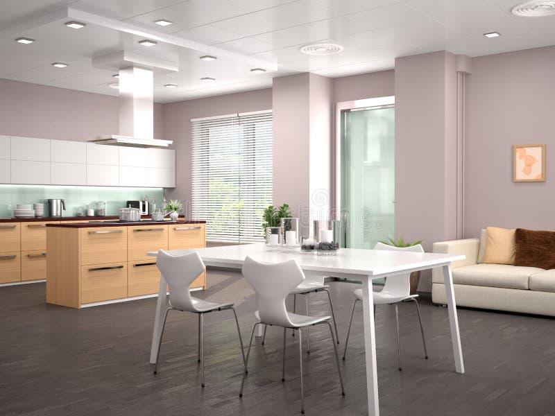 Estudio moderno de la cocina del diseño interior ilustración del vector