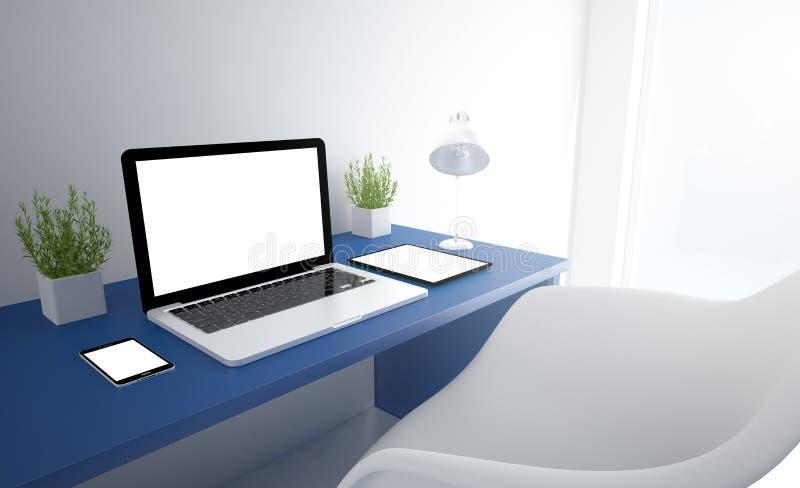 estudio responsivo azul con los dispositivos blancos de la pantalla fotos de archivo libres de regalías