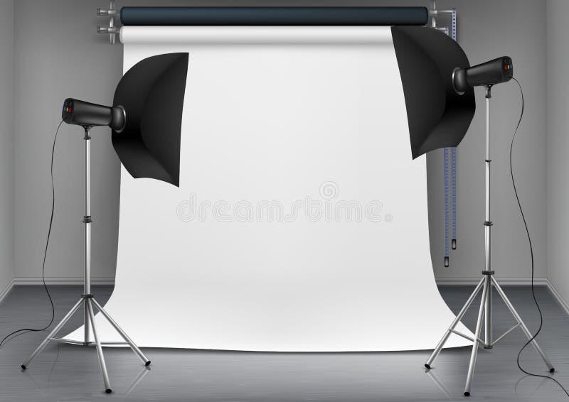 Estudio vacío de la foto del vector con el equipo de iluminación stock de ilustración