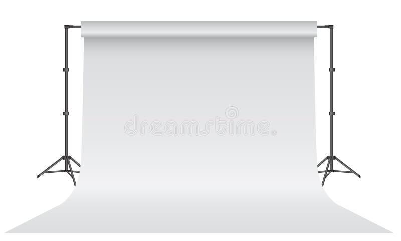 Estudio vacío de la foto Papel blanco realista del contexto 3D con diseño ascendente de la mofa del trípode Fondo gris libre illustration