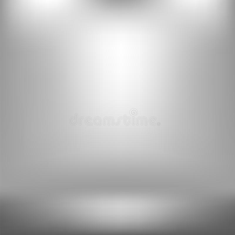 Estudio vacío Gray Abstract Background ligero con efecto radial de la pendiente Pared y piso planos libre illustration