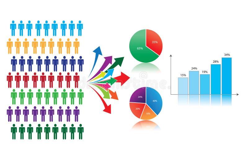 Estudio y estadísticas de mercados, simbolizados stock de ilustración