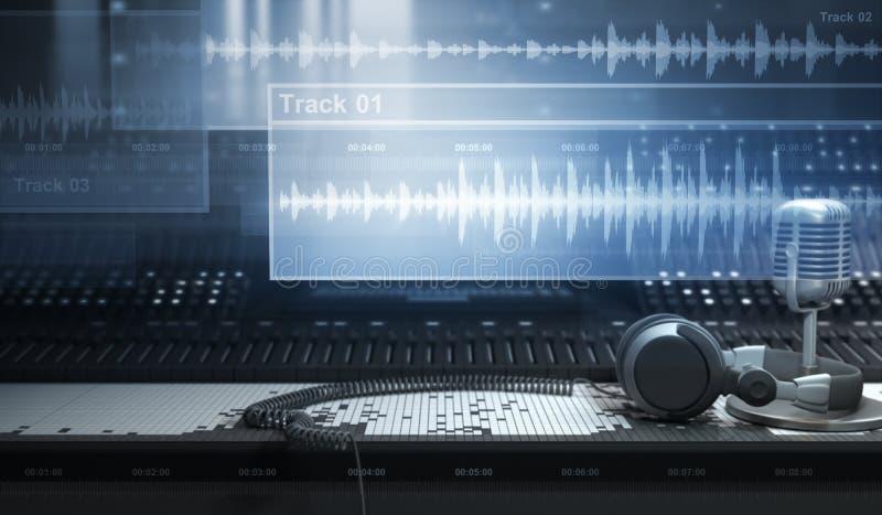 Estudio y pistas de los sonidos stock de ilustración