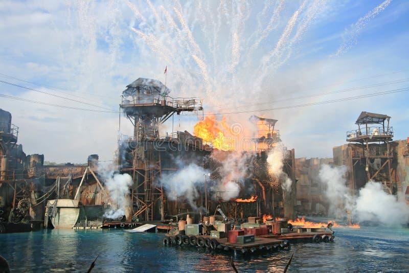 Estudios universales Hollywood de la demostración del mundo del agua fotografía de archivo