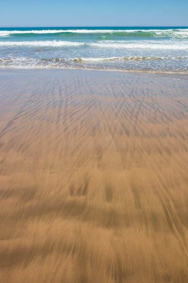 Estudo ascendente próximo das ondas e dos testes padrões da areia na praia de Makorori, perto de Gisborne, Nova Zelândia imagens de stock