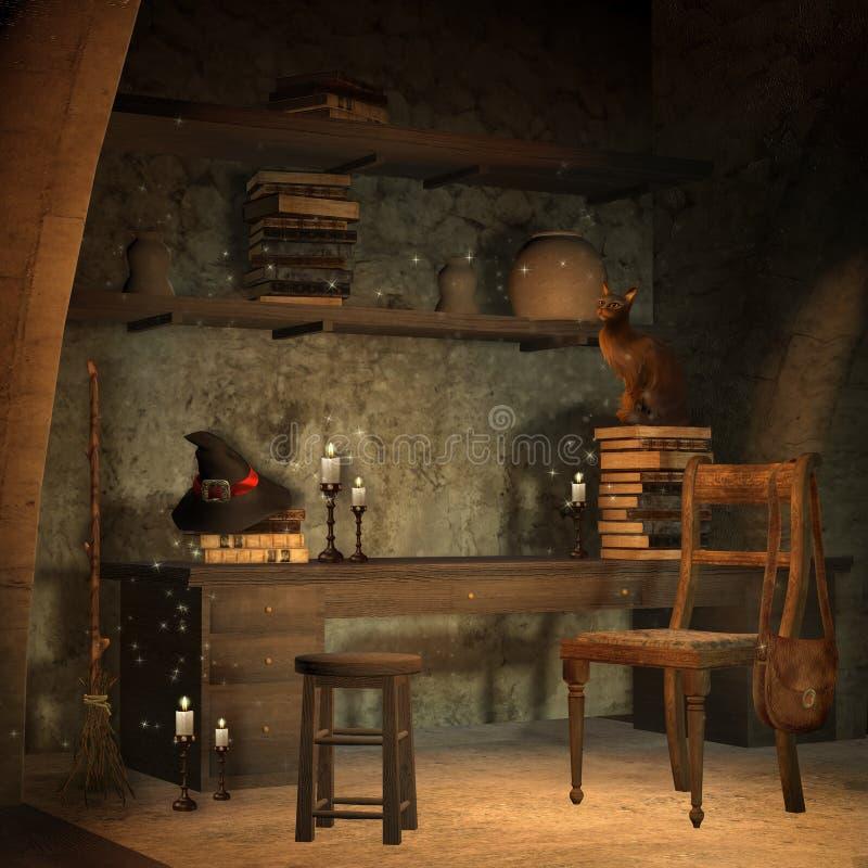 Estudo do castelo da fantasia ilustração royalty free