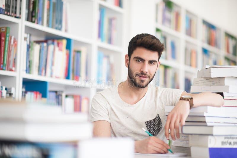 Estudo do estudante na biblioteca escolar imagem de stock royalty free
