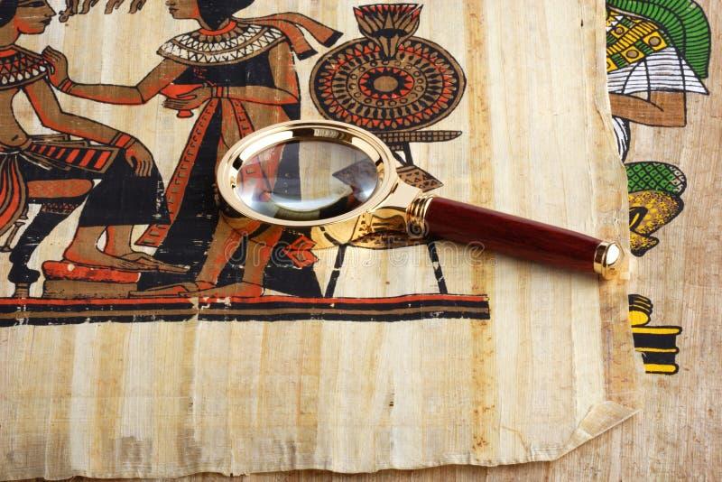 Estudo do papiro egípcio imagens de stock