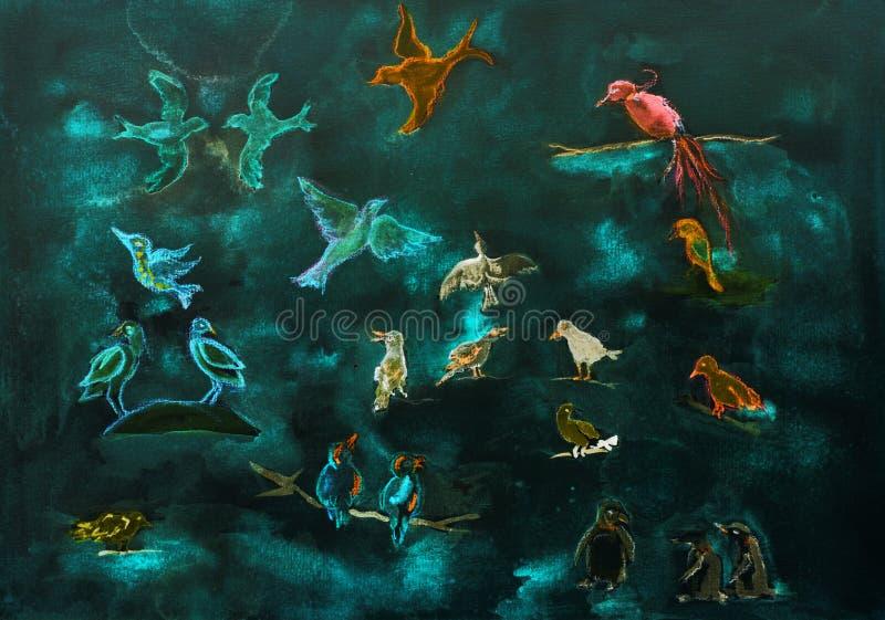 Estudo do tipo diferente dos pássaros no anoitecer ilustração stock
