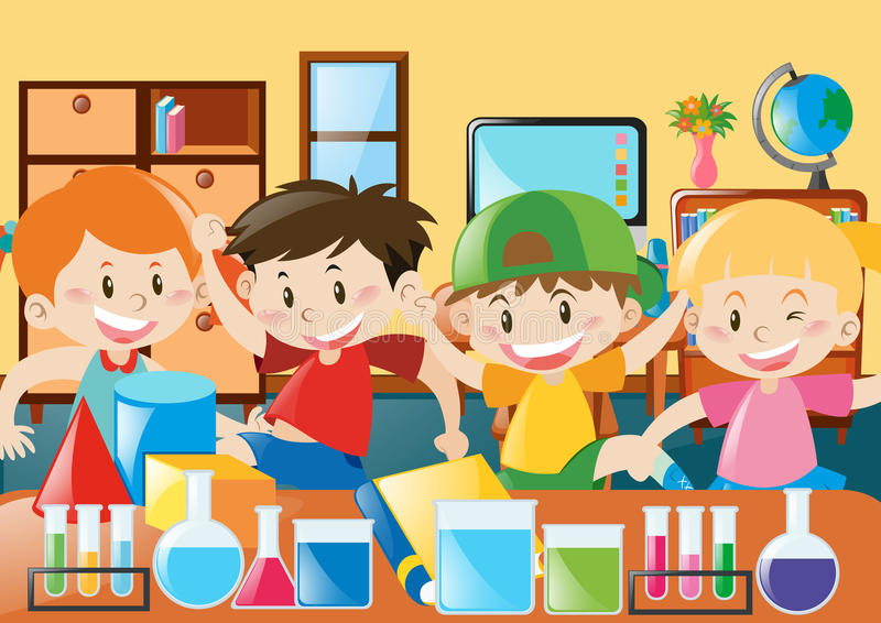 Estudo dos estudantes na sala de aula ilustração stock