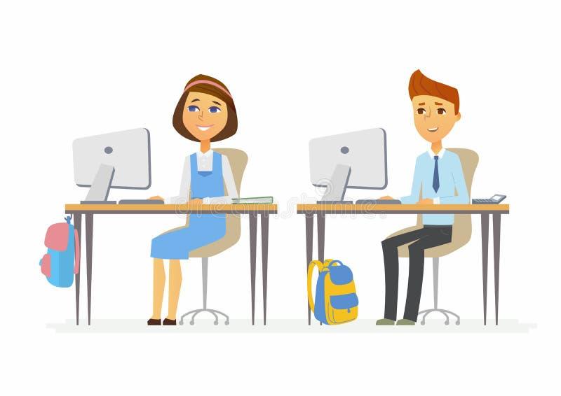 Estudos de computador - alunos superiores nos PCes ilustração royalty free