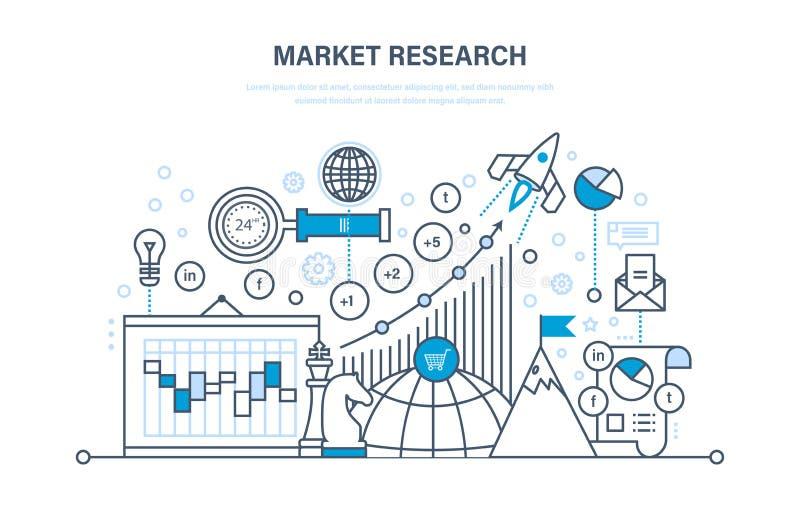 Estudos de mercado Análise, estatística da pesquisa, troca de informação Gestão de tempo ilustração do vetor