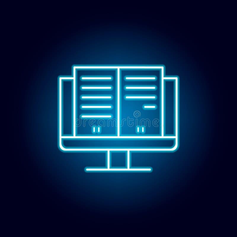 estudos, eBook, monitor, ícone do esboço da tela no estilo de néon elementos da linha ícone da ilustração da educação os sinais,  ilustração royalty free