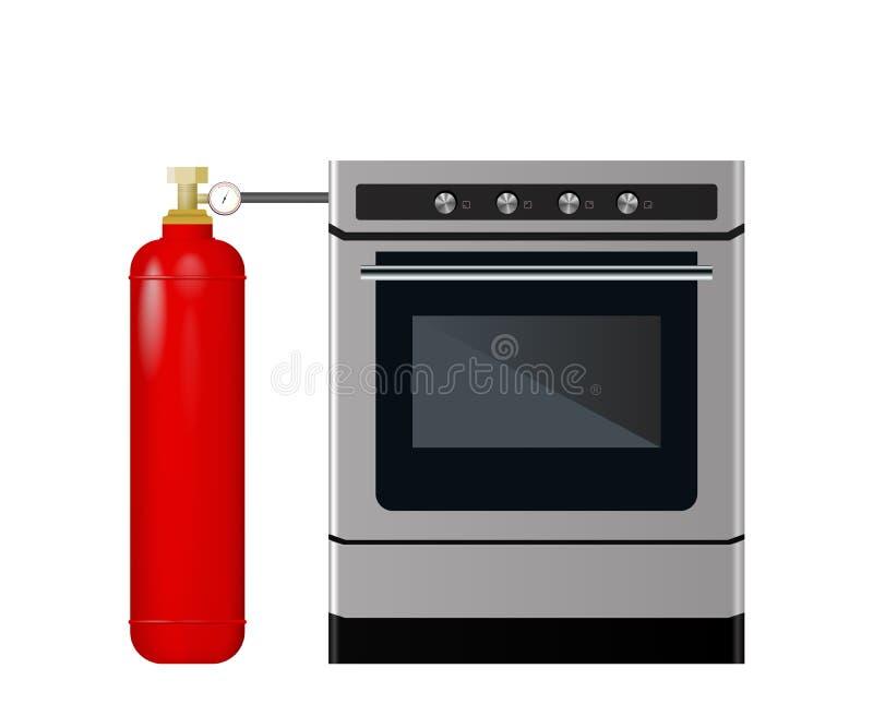 Estufa de cocina con un globo rojo libre illustration