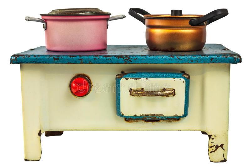 Estufa de cocinar de la casa de muñecas retra aislada en blanco foto de archivo libre de regalías