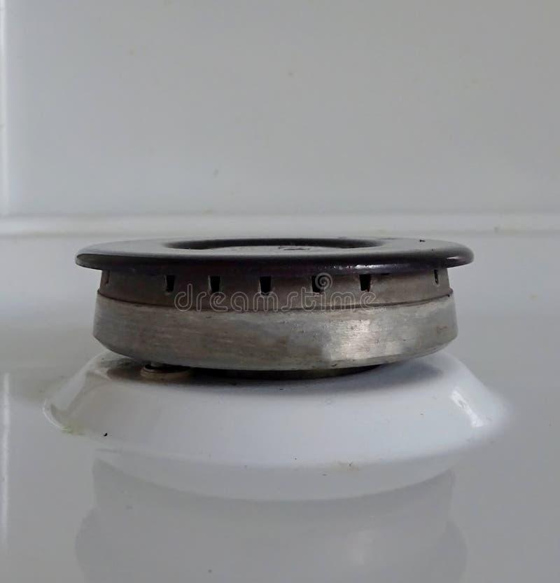 Estufa de gas para cocinar en dispositivos de cocina de la hornilla del gas combustible del butano del propano del gas natural de imagen de archivo libre de regalías