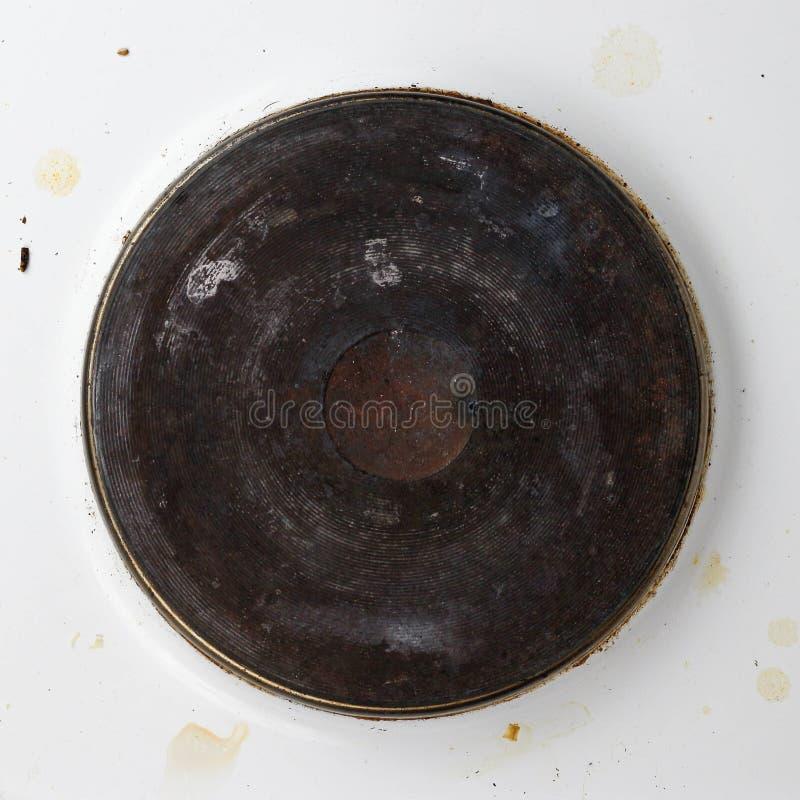 Estufa eléctrica blanca sucia Cierre para arriba imagenes de archivo