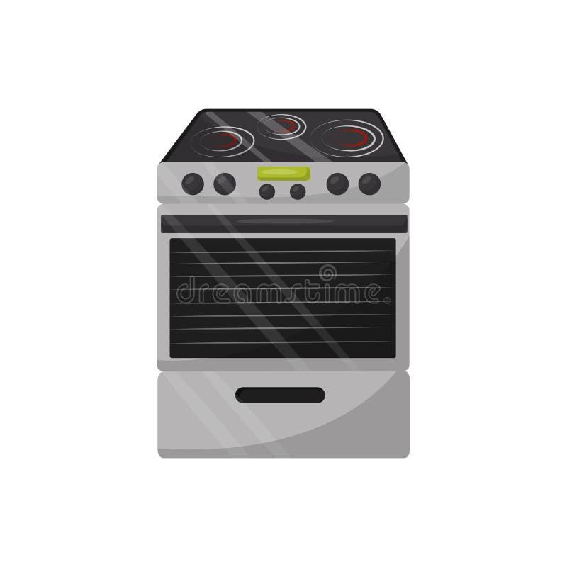 Estufa eléctrica moderna con el horno Dispositivo de cocina Vector plano para hacer publicidad de la bandera o del aviador de la  libre illustration