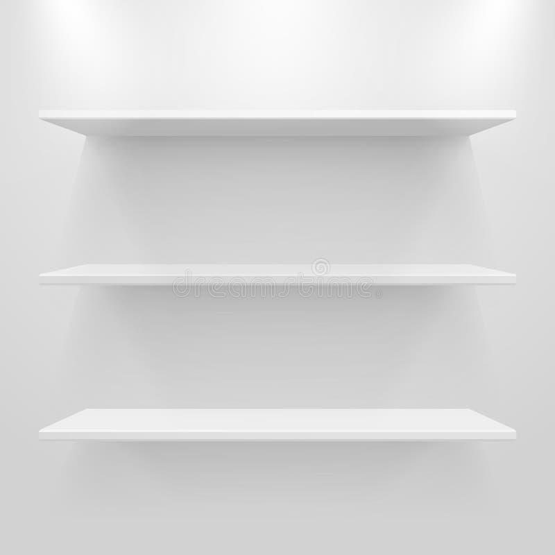 Esvazie as prateleiras brancas na luz - fundo cinzento ilustração stock