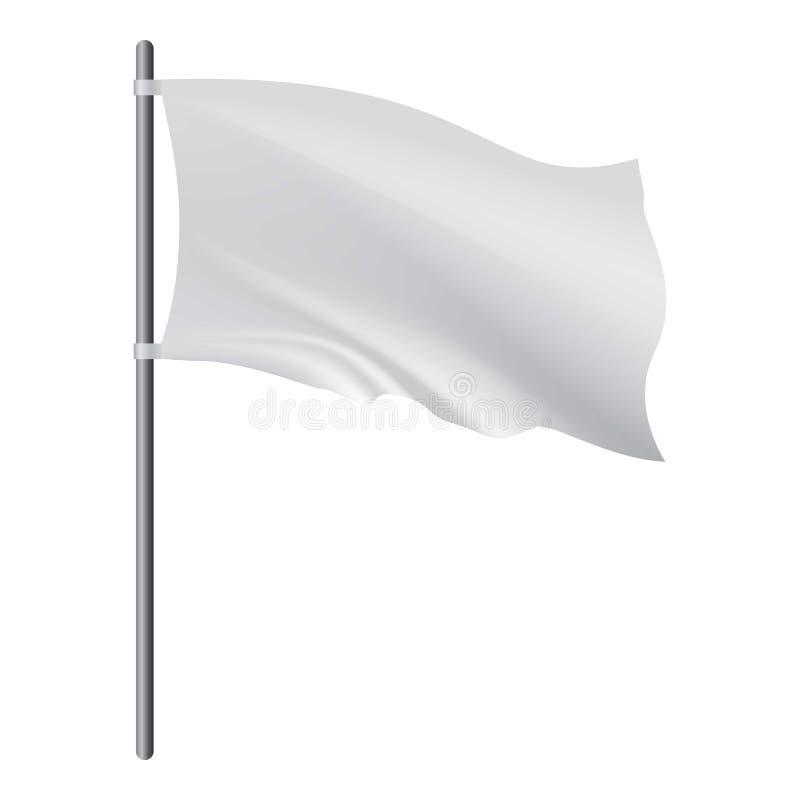 Esvazie a bandeira branca que torna-se no modelo do vento ilustração stock