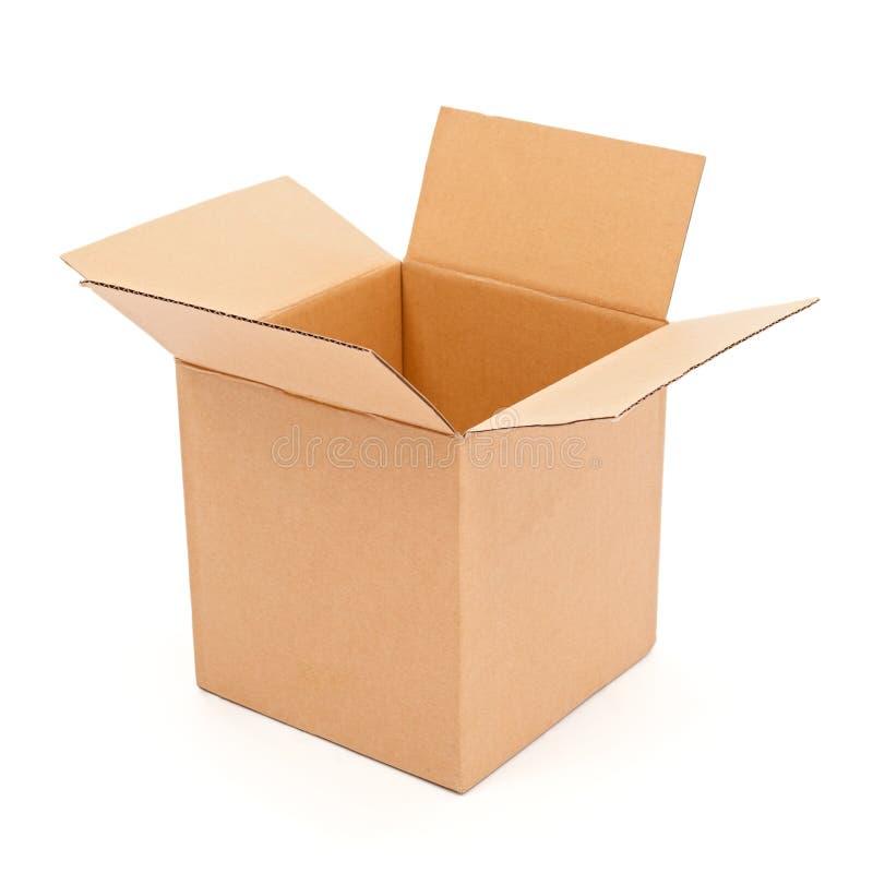 Esvazie, caixa de cartão aberta foto de stock