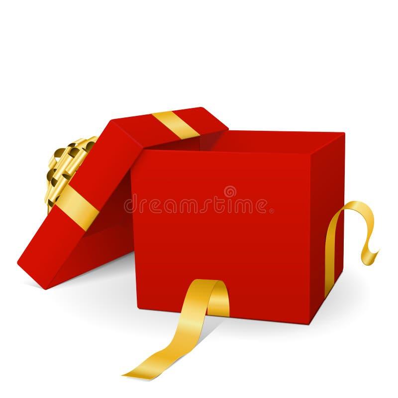 Esvazie a caixa de presente vermelha do vetor 3D com a fita dourada do pacote ilustração do vetor