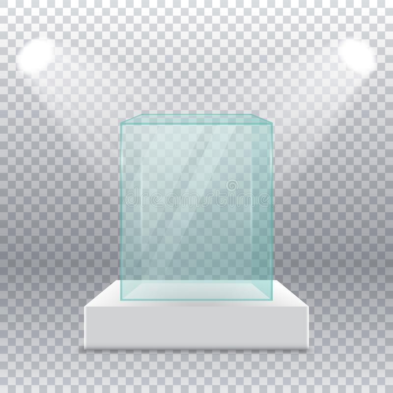 Esvazie a caixa de vidro transparente no suporte com os projetores nos lados em um fundo transparente ilustração do vetor