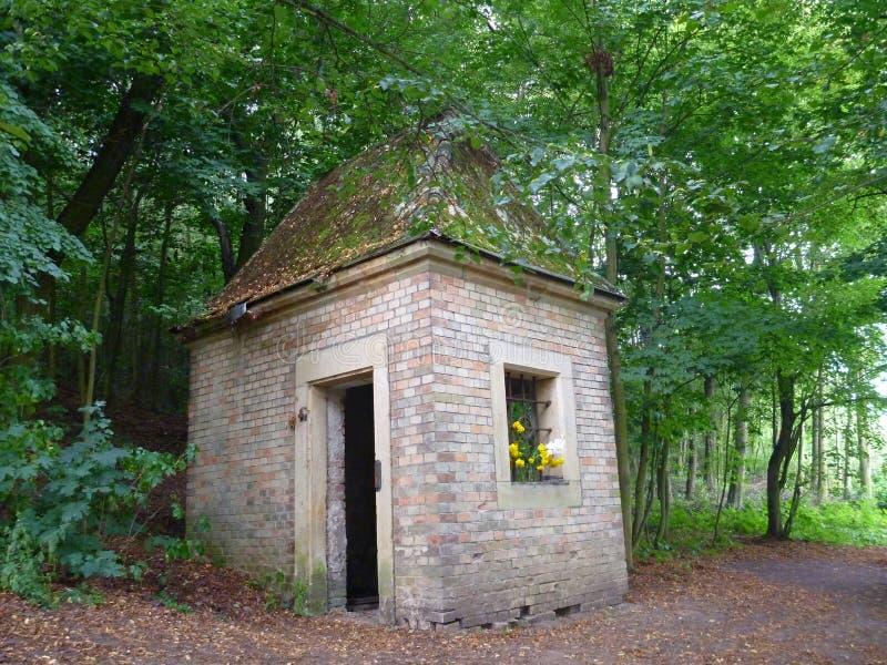 Esvazie a casa pequena abandonada na madeira imagem de stock