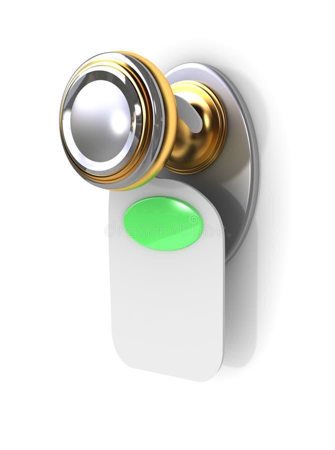 Esvazie a etiqueta em um punho de porta