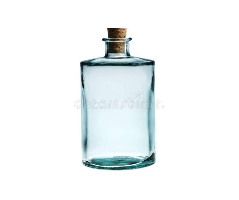 Esvazie a garrafa de vidro com o bujão da cortiça isolado no branco. foto de stock royalty free