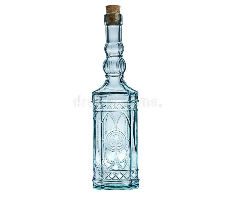 Esvazie a garrafa de vidro com o bujão da cortiça isolado no branco. imagem de stock royalty free