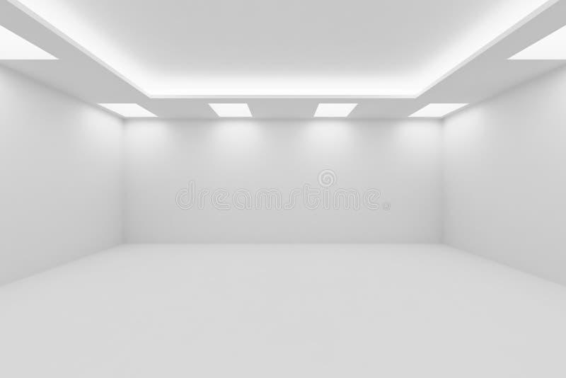 Esvazie largamente a sala branca com luzes de teto quadradas ilustração stock