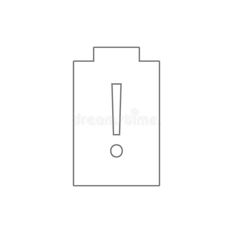 Esvazie o ícone da bateria Elemento da Web, minimalistic para o conceito e o ícone móveis dos apps da Web Linha fina ícone para o ilustração royalty free