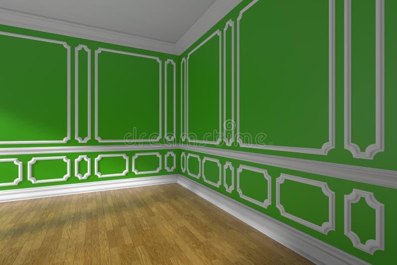 Esvazie o canto verde da sala com o assoalho do molde e de parquet ilustração do vetor