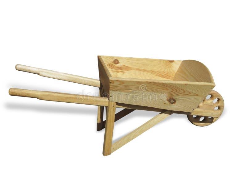 Esvazie o carro de madeira do carrinho de mão para o jardim isolado sobre o branco fotos de stock royalty free