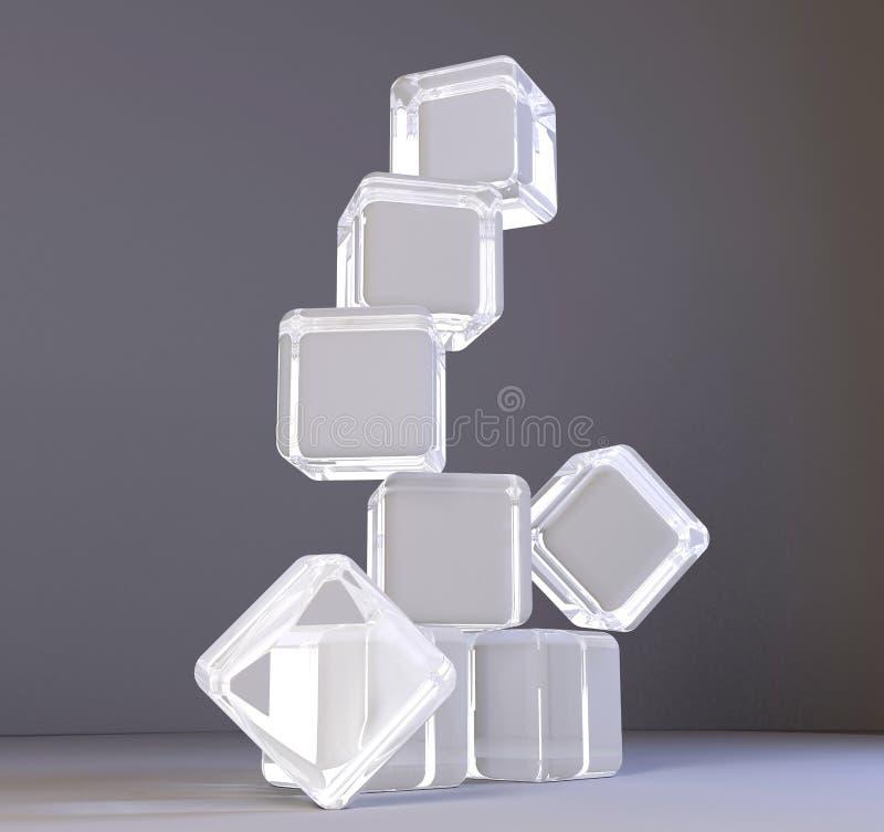 Esvazie o cubo de vidro transparente da caixa isolado no fundo branco ilustração stock