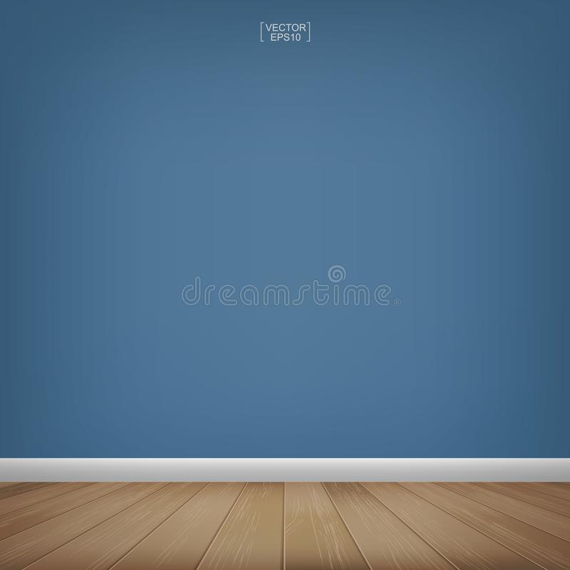 Esvazie o espaço de madeira da sala com fundo azul do muro de cimento Vetor ilustração royalty free