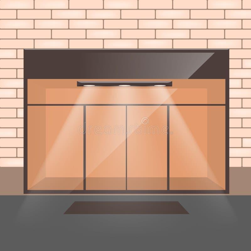 Esvazie o interior da loja com as portas de entrada de vidro ilustração stock