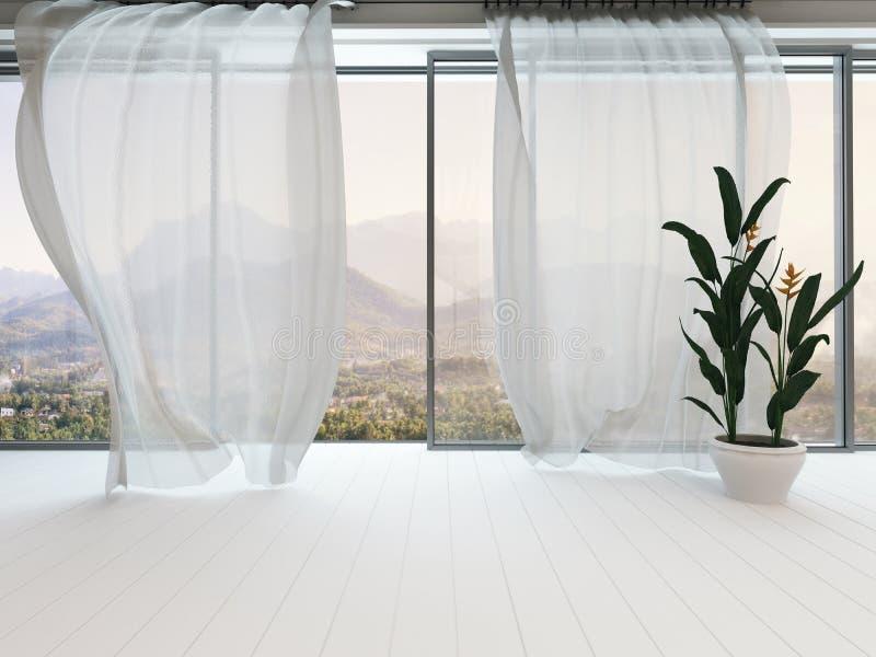 Esvazie o interior da sala branca com janela e cortina ilustração royalty free