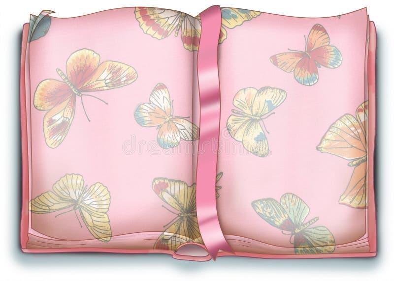 Esvazie o livro com borboleta - ilustração ilustração stock