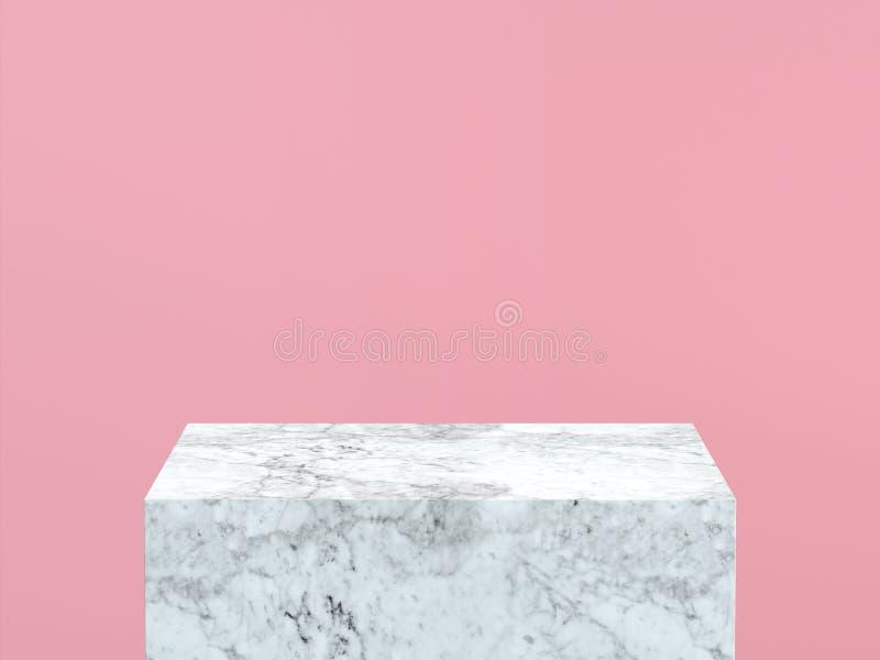 Esvazie o pódio de mármore branco no fundo da cor do rosa pastel rendição 3d ilustração royalty free